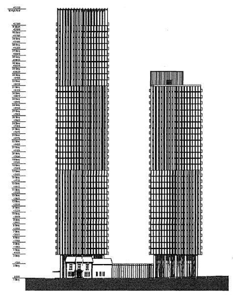 Proposed towers, north elevation