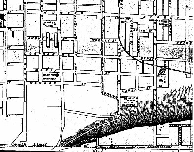 Figure 3. Part of an 1878 map of Hamilton, showing road names. The Church of the Ascension is also shown.