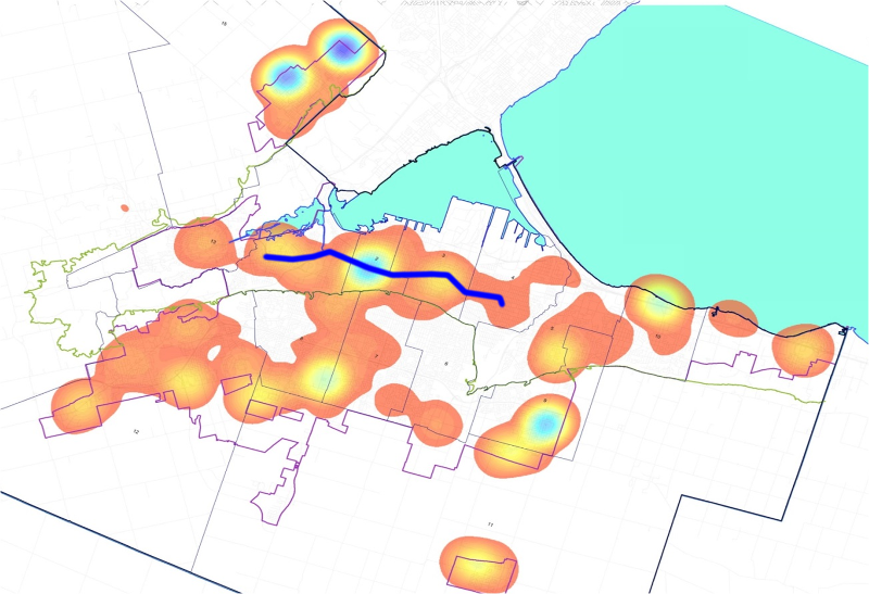 2016 Building Permit Activity by Dollar Value, with LRT Corridor Superimposed