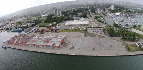 Figure 1: Aerial shot of the present day state of Piers 7 and 8 in Hamilton (source: Pier 7 and 8 Urban Design Study)