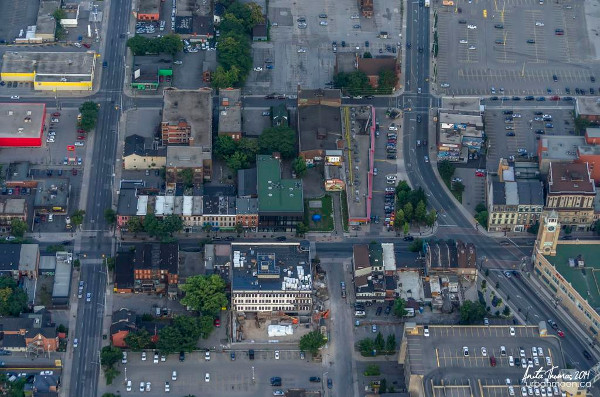 Impervious paved asphalt parking lots in downtown Hamilton (Image Credit: Anita Thomas)