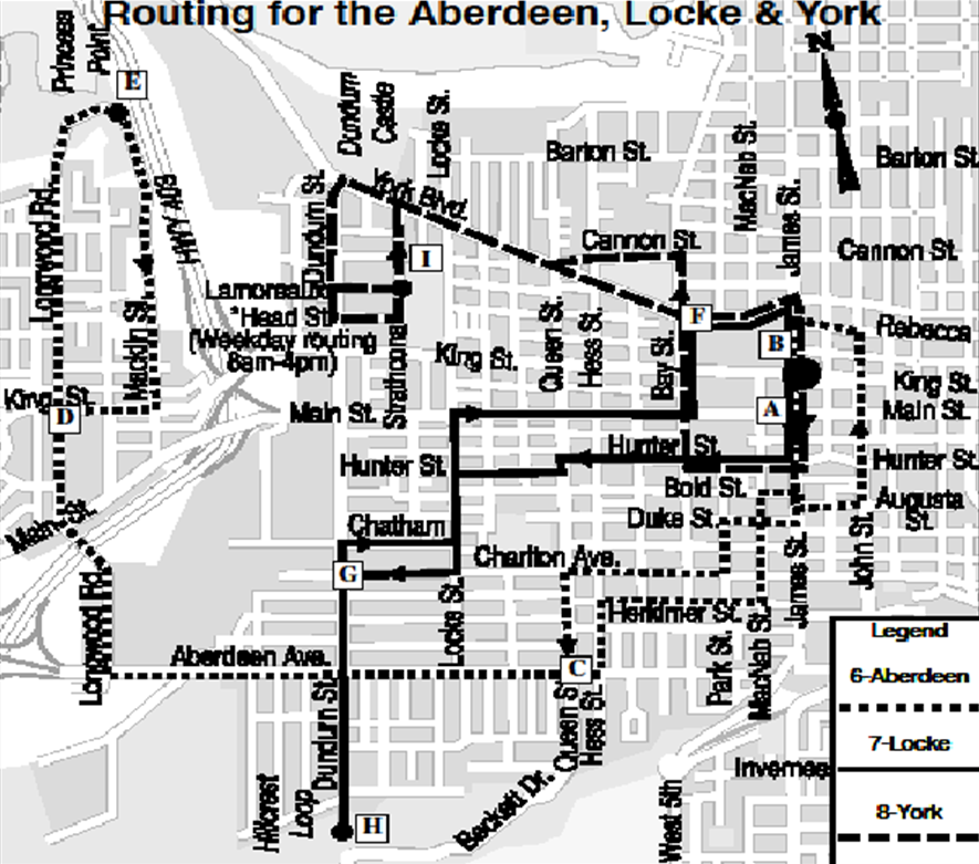 Current routing on Aberdeen, Locke and York routes