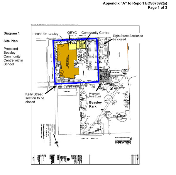 Beasley Community Centre site plan (Image Credit: City of Hamilton)