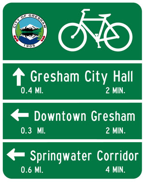 Bicycle wayfinding sign (Image Credit: city of Gresham, Oregon)