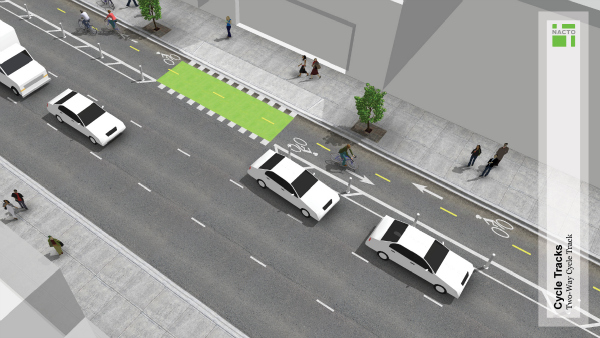 Green painted bike lanes across driveways (Image Credit: Momentum Magazine)