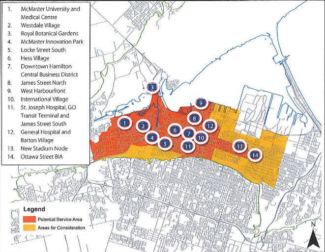 Bike share potential service area map