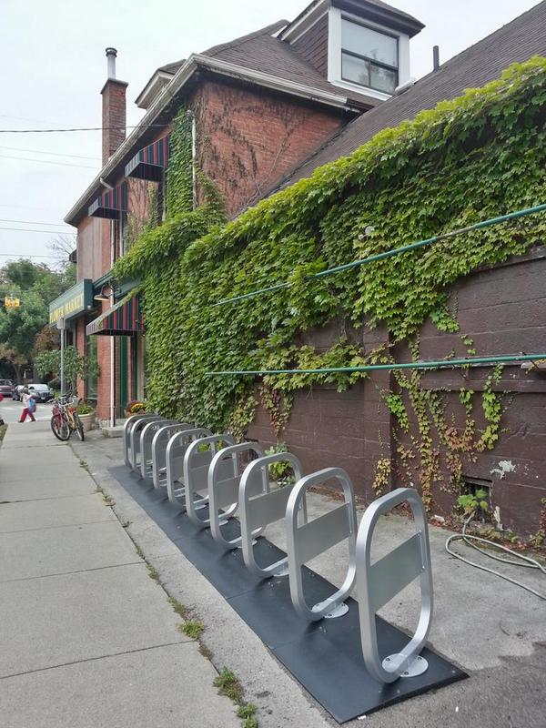 Bike share station at Charlton and Locke