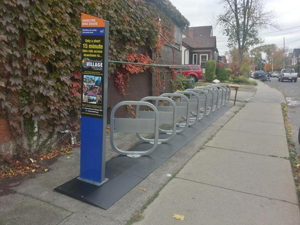 Sign up at bike share station, Charlton and Locke