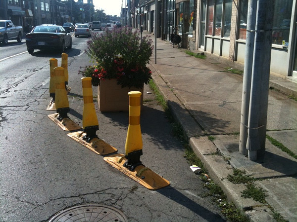 Bollards and planter on Barton Street