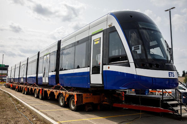 Bombardier's larger 7 section Flexity Swift Light Rail Vehicle for Edmonton with a length of 42 metres