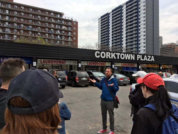 Cameron Kroetsch leading Jane's Walk on the future of Corktown, May 6, 2018