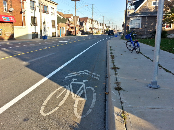 Painted bike lanes on Cannon