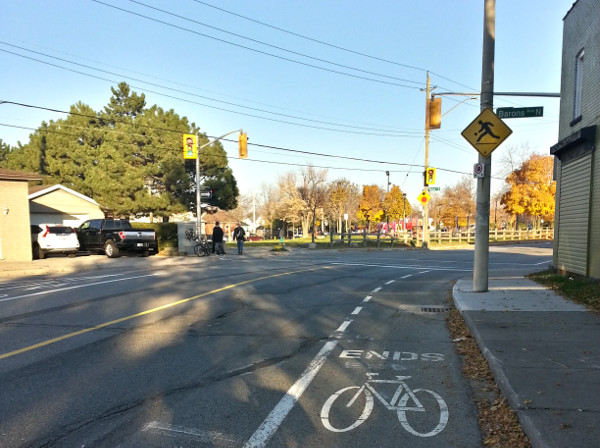 Bike lane ends at Barons and Britannia