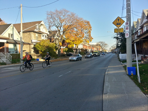 Cyclists on Cannon east of Sherman