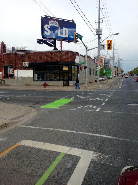 New intersection pavement markings on Cannon Cycle Track at John (Image Credit: Jason Leach)