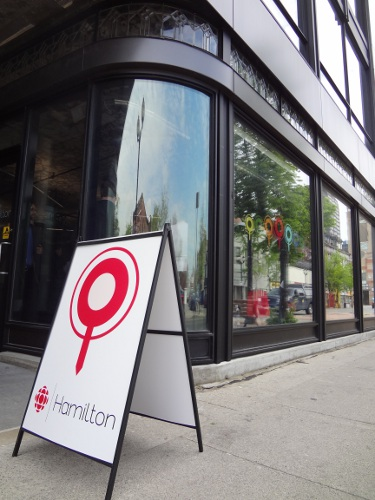 CBC Hamilton storefront on James Street North, just north of Cannon Street.