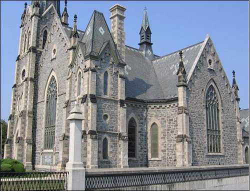 Figure 8. Central Presbyterian Church, Galt. Constructed in 1860 of dark fieldstone and light Guelph dolomite. Note that the fieldstone has been carefully shaped and selected for colour (it is a green-grey gneiss - light coloured granites were not included).