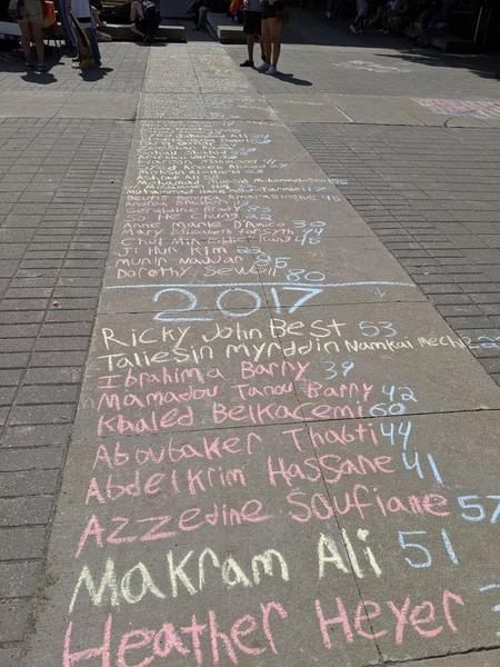 List of people killed by right-wing extremists written in chalk on the City Hall forecourt