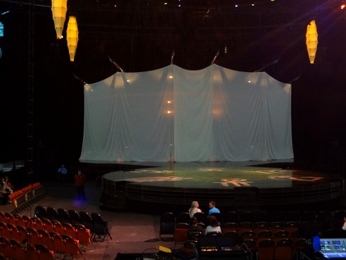 The stage before showtime. I was promptly advised that the use of cameras is strictly prohibited at Cirque du Soleil.