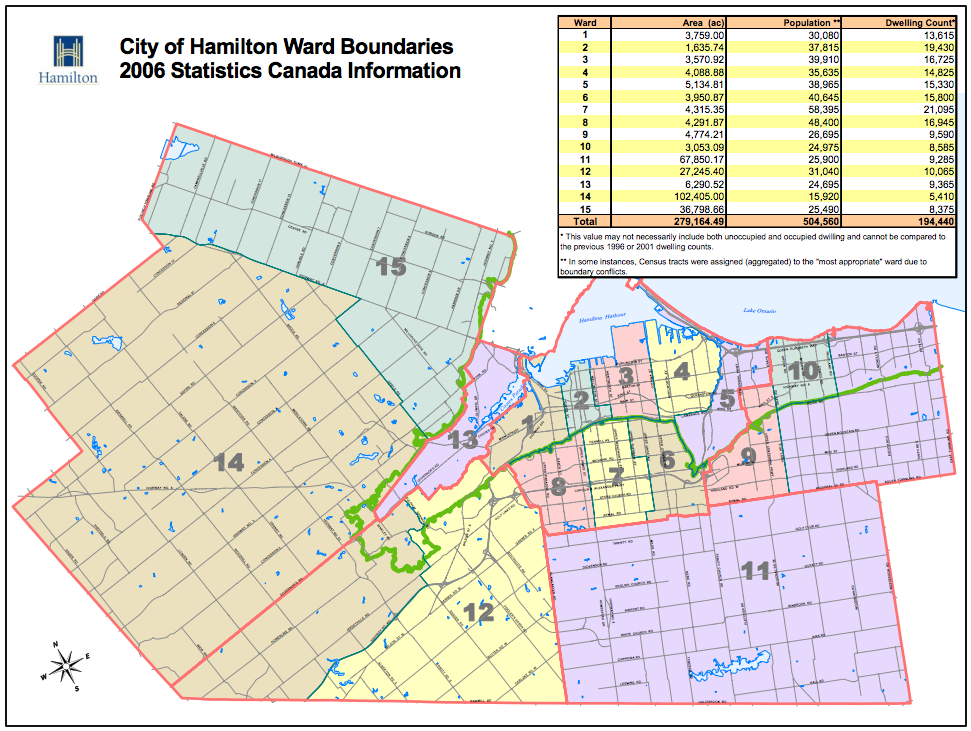 City of Hamilton Ward Boundaries 2006 Statistics Canada Information