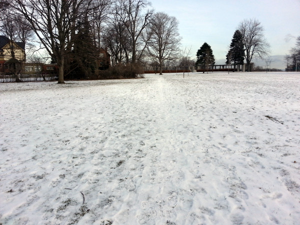 Desire Path in Southam Park connecting to Tanner Street