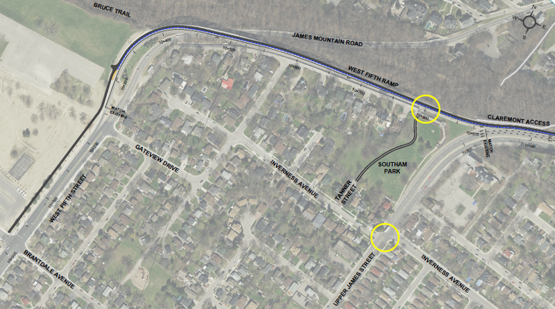 Claremont Cycle Track design, upper portion (Image Credit: City of Hamilton)