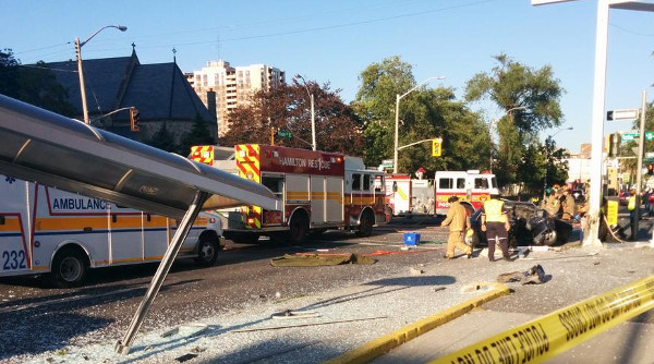 Scene of the July 5, 2014 crash on Main near Victoria (Image Credit: Joey Coleman)