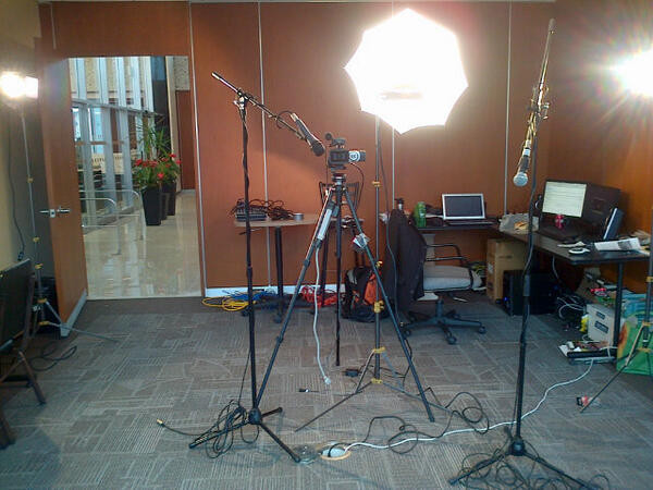 Full studio set up for live interview at City Hall
