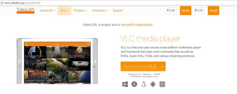 The VLC Media Player homepage on February 15, 2017 from a Windows Desktop in Chrome browser
