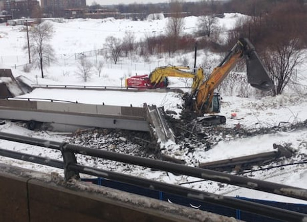 Overpass over Bayview O-Train Station collapsed when it was being dismantled in March 2016 (Photo Credit: CBC Ottawa)