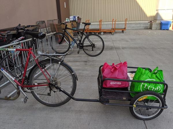 Bike with trailer at Ancaster Costco