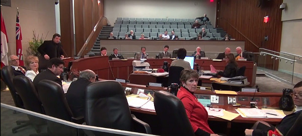 Several councillors turning to look at argument between Ferguson and Coleman (Screen capture from YouTube video)