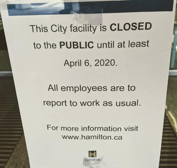 City Hall closed until at least April 6