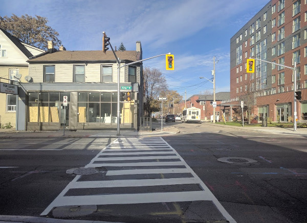 New zebra crosswalk on the west side of Pearl at King