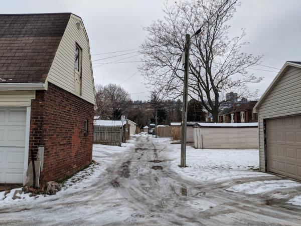 Image 2: Snowy laneway photograph - existing conditions winter 2020