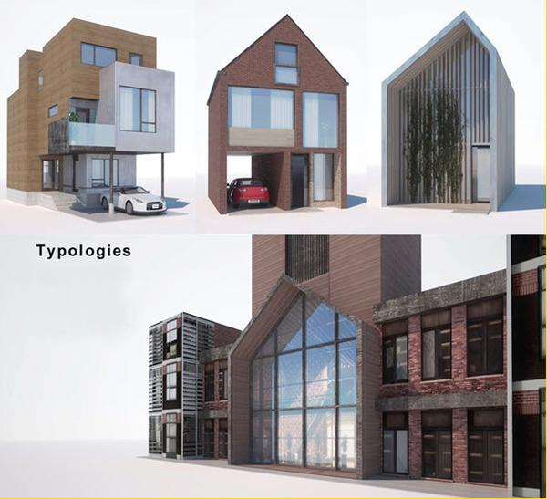 Image 3: the various housing typologies developed for our study: including detached and row houses and smaller apartment blocks. Unit sizes would range, along with price points for ownership.