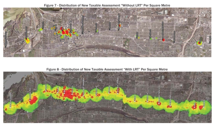 Distribution of new taxable assessment without LRT and with LRT (Source: Canadian Urban Institute)