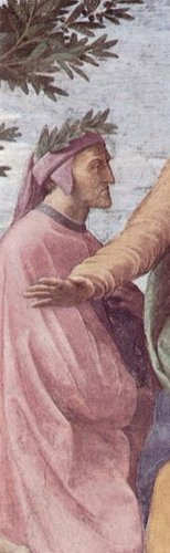 Detail of Dante from Parnassus by Raphael, Apostolic Palace, Vatican City. I can't wear that colour. Great on him.