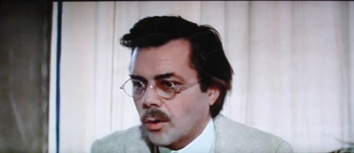 Dirk Bogarde in Death in Venice, 1971, capturing - I would say effectively, if not masterfully - Aschenbach's increasing uptightness about the disinfectant