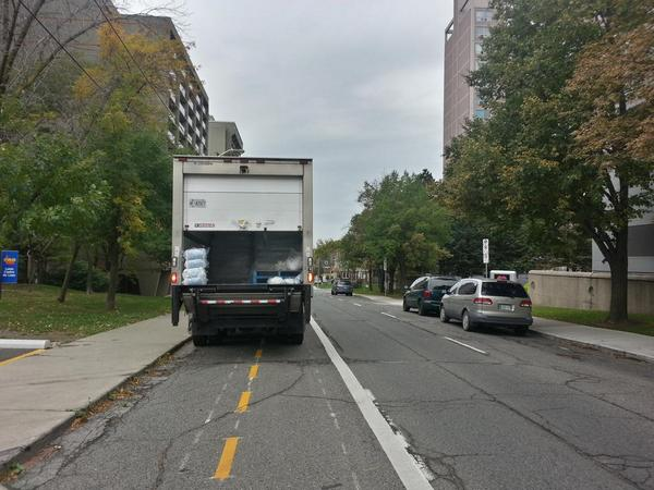 Delivery truck blocking Hunter Street bike lanes (RTH file photo)