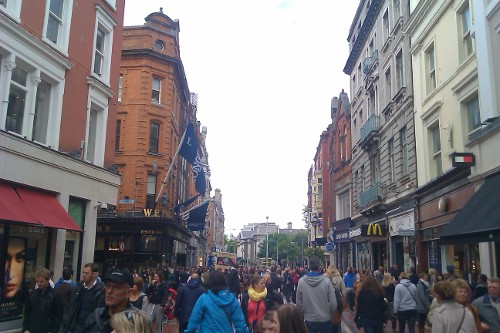 Shops line Grafton Street