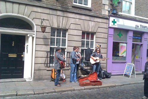 A band performs in Temple Bar