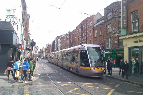 The Luas LRT runs along Upper Abbey Street, north of the Liffey