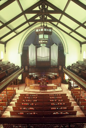 Fig. 10. Guelph, Second Wesleyan (now Dublin Street United) Church, interior to pulpit platform.