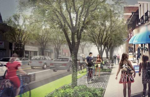 Rendering: Eglinton with protected cycle track