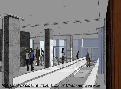 Rendering: Interior of enclosure under Council Chamber (facing north)