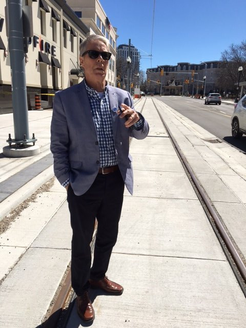 Mayor Eisenberger on Waterloo ION LRT track