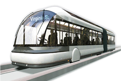 A nifty subway train? Nope. A modern BRT vehicle.
