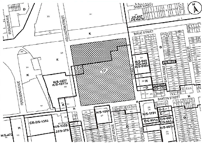 Location map, planned General Hospital buildings