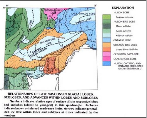 Figure 5. Glacial lobes in the region around Lake Erie (part of US Geological Survey, Quaternary Geologic Map I-1420, 1991).